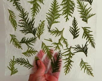 Green natural handmade paper, decorative paper with Thuja tree,  collage art paper, craft homemade paper, Eco friendly paper