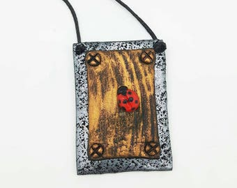 Ladybird polymer clay necklace