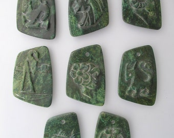 Green Stone Pendant Carvings