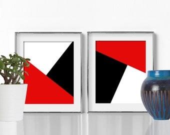 Abstract Art Digital Download Printable Art Modern Art Print Pop Art Colorful Print Graphic Design Print Black and White Art Red Crimson NYC