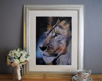 African Lion Painting - A3 Watercolour - Original and Prints