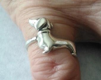 Sterling Silver Dachshund Ring