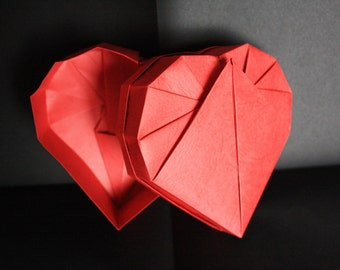 "Box heart origami ""effect leather"" small format"