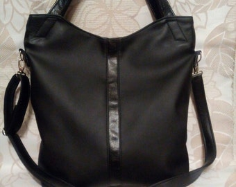 black bag with a long strap