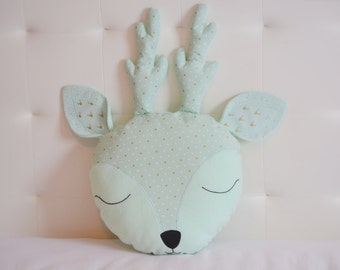 Deer nursery pillow, Mint sweet deer pillow