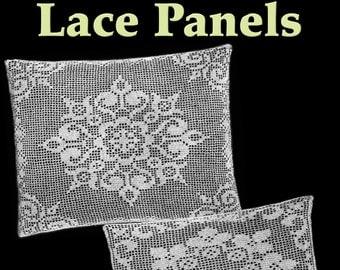Two Spring Lace Panels Filet Crochet Pattern
