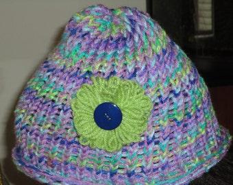 flower knit hat