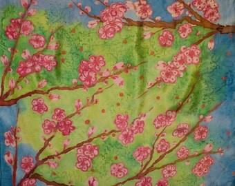 "Seidenmalerei.Unikat.Kimonomania. ""Dream of spring"". Crêpe de chine 90 x 90 cm"