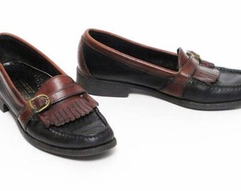 Beautiful, high quality Sebago Black & Brown/Cognac Leather Loafers, 7.5