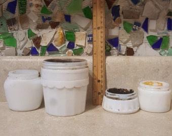 4 vintage milk glass cosmetic jars