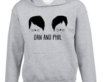 kids / adults hoody DAN AND PHIL , cat whisker design hoodie worldwide shipping dolan twins