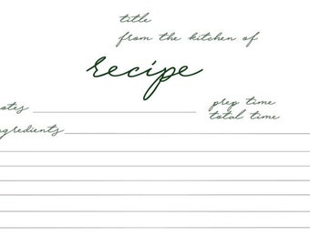 Printable Recipe Cards | Plain