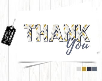 Herringbone Thank You Card, Navy, Gold & Gray Stationary Greeting Thank You Cards, Printable Thank You Card | INSTANT Download 4x6 JPG