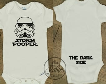Storm pooper The dark side Star Wars Storm trooper Onesie Baby Boy Newborn Funny Cute Saying Shower Gift Dad Silly Coming home outfit Set