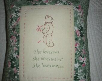 Handmade stitchery pillow ~She loves me,she loves me not,she loves me