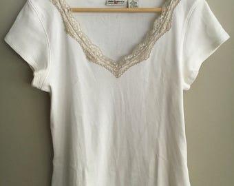 VNTG RALPH Lauren Polo Jeans co womens cream shirt w/ lace details