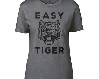 Women's 'Easy Tiger' T-Shirt In Charcoal