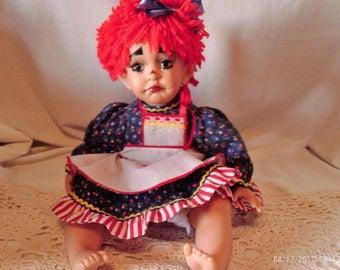 Kelly RuBert vinyl and cloth Raggedy Ann Baby Doll