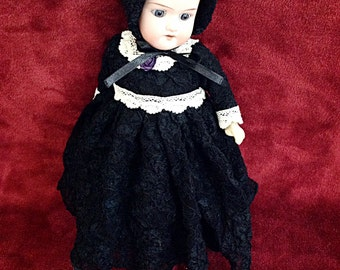 SOLD | Vintage Doll Dress/Bonnet for Petite Antique Doll ~ Handmade & Designed