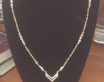 The Minimalist in the Mission (Gold Chevron Necklace w/Crystals)