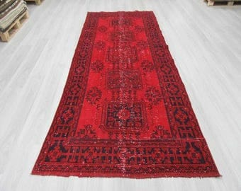4' 5''x11' 3''Hand knotted vintage over-dyed red Turkish runner rug