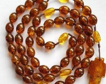 Amber Rosary Catholic Ambra Rosario Cross Necklace Beads 11 mm