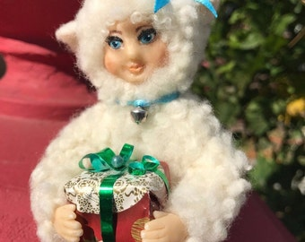 Handmade Lamb Boy 100% wool p clay home decor toy doll collectibles holiday gift
