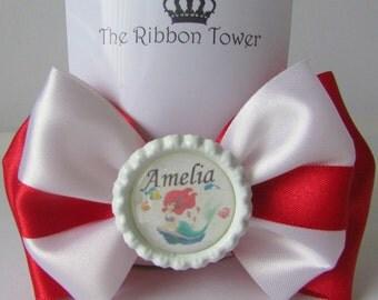 Personalised character girls school bobbles bows clip headband satin ribbon accessories walt disney hand made