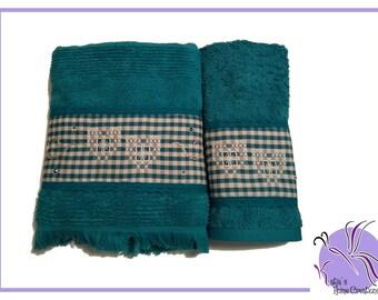 Teal Embroidered towel set Broderie Suisse with Swarovski