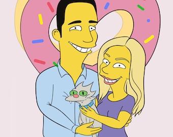 Custom portrait.Couple portrait.Simpsons portrait.Custom illustration - Family portrait.Personalized Family portrait.
