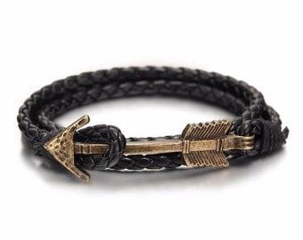 Leather Vintage Bronze Arrow Bracelet