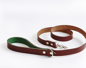 Dog Lead - Handmade Luxury Leather - Country Green and brown