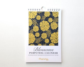 Perpetual Calendar- Desk Calendar- Birthday calendar - Mini Calendar - Floral Calendar - Wall Calendar - Stationery Gift - Holiday Gifts