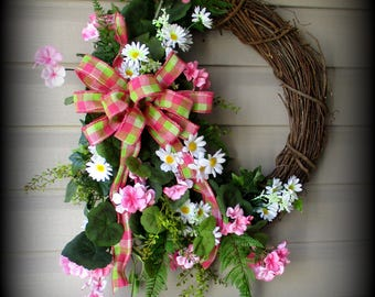 Round Spring Wreath with Greenery,  Pink Geraniums , and  Daisies- Burlap Matching Bow- 27""