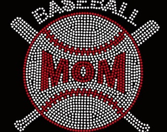 Baseball Mom Rhinestone Iron On Transfer            X71W