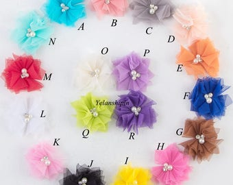 6.5cm 18colors DIY Soft Chic Mesh Hair Flowers With Rhinestones+Pearls Artificial Fabric Flowers For Baby Headbands Hair Accessories