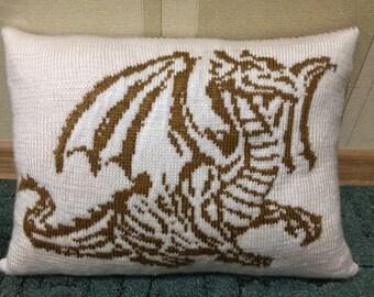 """knitted decorative pillow handmade """"Golden Dragon"""""""