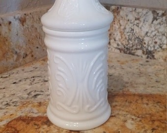 Vintage white Milkglass 8 inch tall  with lid round jar