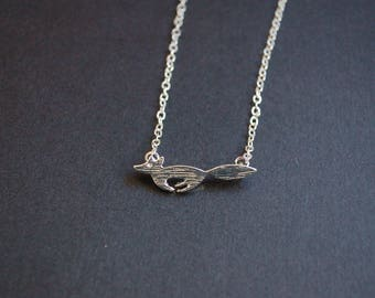 Silver tone running fox necklace
