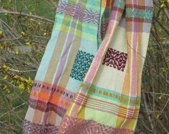 Handwoven Overshot Scarf/handwoven shawl/handwoven wrap/Linen scarf/organic cotton scarf/colorful scarf/colorful wrap/eccentric clothing