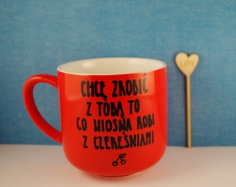 Cherry mug Ceramic mug Red mug Quote mug Gift for her