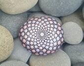 Mandala Stone - Mandala Rock - Meditation - Yoga - Chakra -Spirituality - Dotillism - Gift - Mandala Art - Pink - Paint Rock - Home Decor