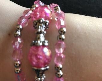 Pink Triple-Strand Bracelet