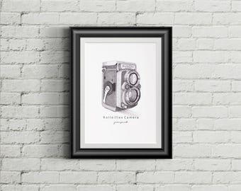 Poster Art Print Digital Download - Rolleiflex Camera - Vintage Camera Series - Black and White