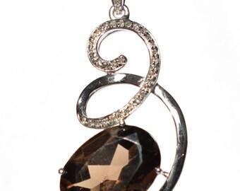 Quartz Fumé and diamonds pendant