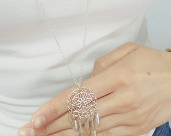 Long necklace Silver 925 pendant dream catcher. Original pendant crafted in sterling silver. Silver Dream Catcher.