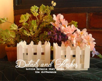 White fence wooden crate for centerpiece and decorations, favor wood box, shabby chic wedding invitation card box, party baby shower decor