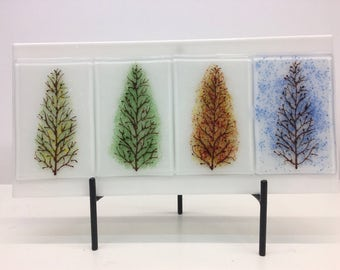 Fused Glass, Wall Plaque, Trees going through the Seasons. Can also bee Freestanding