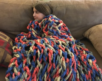 Red Blue and Cream - Dana's Beloved Blanket