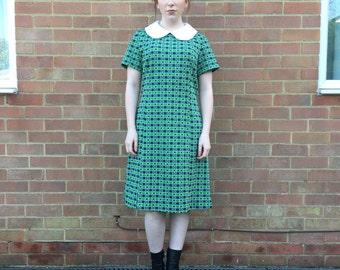 Sixties A Line Peter Pan Collar Vintage Day Dress
